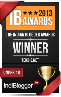 This blog won the 2013 Indian Blogger Awards - Under 18