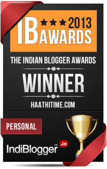 This blog won the 2013 Indian Blogger Awards - Personal