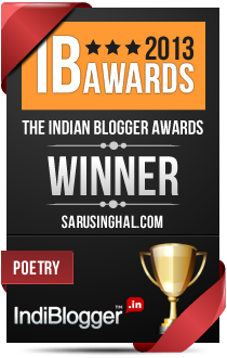This blog won the 2013 Indian Blogger Awards - Poetry